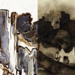 """Montage: Günter Brus, """"Die Ruine"""", 1984, Privatsammlung, Foto: UMJ/N.Lackner; Victor Hugo, """"Blick auf eine alte Festung"""", 1856, Szepműveszeti Muzeum/ Museum of Fine Arts, Budapest, Foto: Dénes Józsa"""