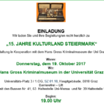 15. KULTURLAND STEIERMARK – Lesung steirischer Autorinnen und Autoren